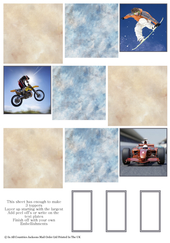 Multi Topper Sheet - Boys Extreme Sports 3D Card Art RRP 75p