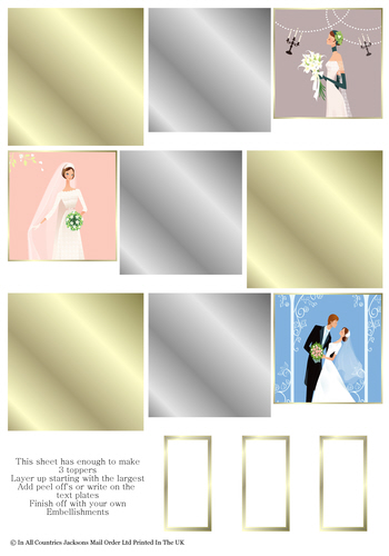 Multi Topper Sheet - Wedding Day 3D Card Art RRP 75p