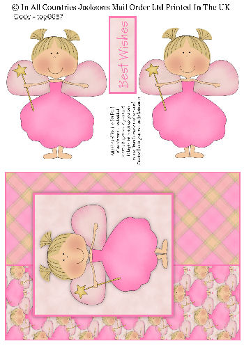 Card Front With Topper - Best Wishes Princess 3d Card Art RRP 75p