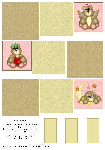Multi Topper Sheet - Teddy Bears 3D Card Art RRP 75p