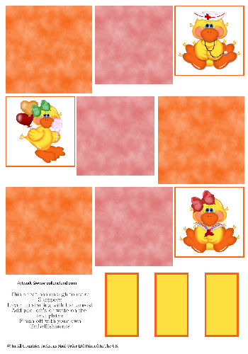 Multi Topper Sheet - Fun Chicks 3D Card Art RRP 75p