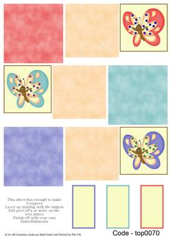 Multi Topper Sheet - Butterflies 3D Card Art RRP 75p