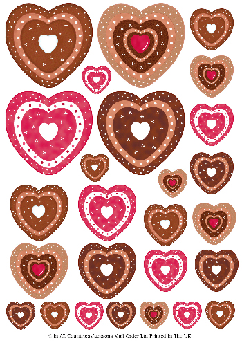 Multi Topper Sheet - Multi Valentine Hearts 3D Card Art RRP 75p