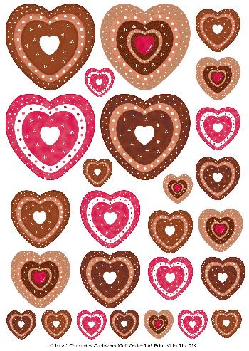 Multi Topper Sheet - Multi Valentine Hearts 3D Card Art RRP 75p